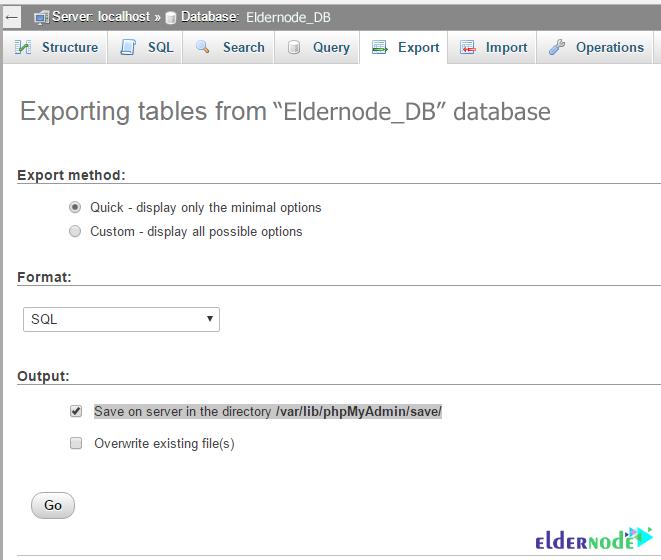 Transfer database between 2 host using PHPMyAdmin